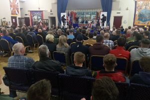The audience at a packed Betrayal Act meeting at Carleton Street Orange Hall in Portadown, Wednesday November 20