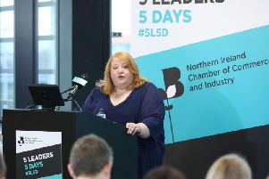 """Handout photo issued by Northern Ireland Chamber of Commerce and Industry of Alliance Party leader Naomi Long speaking to business leaders in Belfast, as she has said Brexit must be reconsidered after voters were promised a """"unicorn"""" and are now being offered a """"lame donkey"""""""