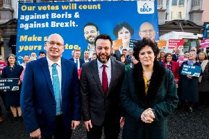 left to right) SDLP general election candidates, Michael Savage standing in South Down, Colum Eastwood leader of the SDLP and candidate for Foyle with Claire Hanna for South Belfast at the launch the partys manifesto at the Bishop's Gate Hotel in Derry City
