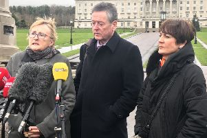 (left to right) Anne Speed of Unison, Kevin McAdam of Unite and Maria Morgan from Nipsa outside Stormont in Belfast, who will take part in talks with the Department of Health aimed at ending industrial action by health workers in an ongoing dispute over pay and staffing levels in the health service in Northern Ireland. Photo credit: Rebecca Black/PA Wire