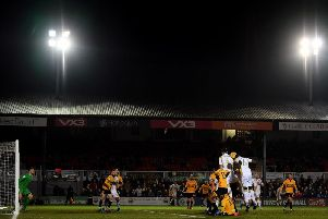 MK Dons in action at Rodney Parade back in February
