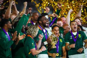 South Africa's rugby players celebrating their 2019 World Cup final win. But the country's unemployment levels are among the highest in the world