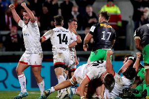 Ulster's Adam McBurney celebrates at the full time whistle.