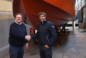 Artemis Technologies CEO Iain Percy OBE, right, and Jonas Pederson, managing director at Tuco Marine,