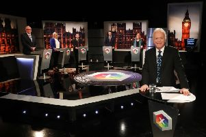 BBC presenter Noel Thompson with representatives  from the five main local parties for last night's televised debate