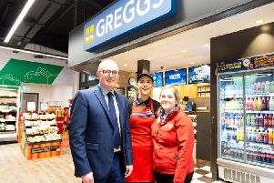 Greggs has opened its 21st shop in Northern Ireland, partnering with Henderson Retail to open within a newly refurbished SPAR store in Larne. Pictured are Area Manager Ian Mullin, Greggs Manager Kathy Moore and SPAR Kilwaughter Store Manager, Nicola Robinson