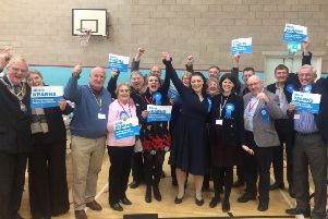 Newly-elected Rutland and Melton MP Alicia Kearns celebrates with Conservative supporters shortly after the result was declared at Melton Sports Village EMN-191213-053447001