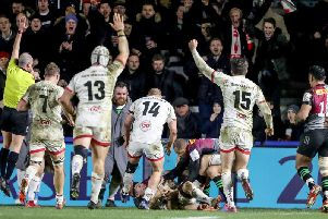 Ulster's John Cooney scores one of two tries against Harlequins