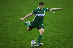 London Irish outhalf Paddy Jackson kicks a penalty against Toulon