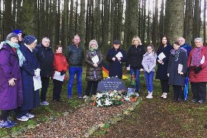 Mourners laid a Christmas wreath and German flag at the memorial plaque dedicated to murder victim Inga Maria Hauser  in a remote part of Ballypatrick Forest, outside Ballycastle