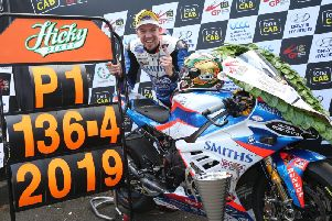 Peter Hickman set a new world road racing lap record of more than 136mph at the 2019 Ulster Grand Prix.