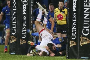 onny Stewart scores for Ulster in the loss against Leinster at the RDS, Dublin. Photo by John Dickson / DICKSONDIGITAL