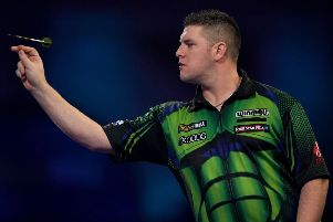 Daryl Gurney during his match against Glen Durrant
