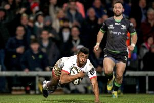 Ulster's Robert Baloucoune scores a try' against Connacht
