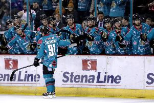 Belfast Giants celebrate their win over Glasgow Clan