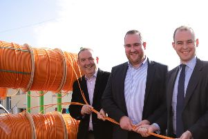 Conal Henry, Dominic Kearns and UK Broadband Minister Matt Warman on a recent visit to Fibrus