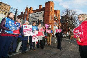Members of the Royal College of Nursing at a picket line outside the Mater Hospital in Belfast last month
