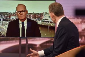 Ireland's deputy premier Simon Coveney being interviewed by host Andrew Marr on Sunday, when he said that there was now a UK commitment to the Stormont House legacy structures.  Image: BBC