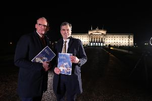 Press Eye - Belfast - Northern Ireland - 8th January 2020 -  ''Secretary of State for Northern Ireland Julian Smith and Irish Minister for Foreign Affairs Simon Coveney, are pictured at Parliament Buildings, Stormont in Belfast.''Photo by Kelvin Boyes   / Press Eye.