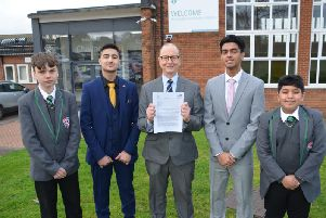 Challney High School for Boys headteacher Daniel Connor with pupils