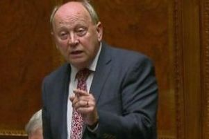 TUV leader Jim Allister speaking in the Assembly on Saturday before lodging the bill in the bills office