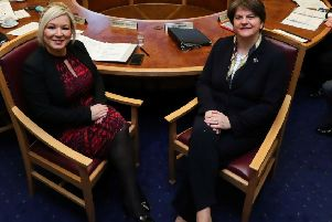 "Michelle O'Neill and Arlene Foster. ""Mrs Foster only holds office on the grace and favour of Sinn Fein which can still bring Stormont down on a whim.  Any attempt by the DUP to thwart the progression of Irish is likely to be met by the same response as three years ago"""