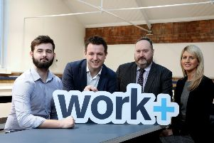 Pictured at the launch were Joshua Shannon, apprentice at Jacobs in Belfast, Jim Wilkinson, Director of Apprenticeships, Careers and Vocational Education at the Department for the Economy; Richard Kirk, Director of Workplus and Fallon Gowland, People Lead at Jacobs