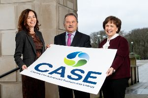 Minister Diane Dodds is joined by Sam McCloskey (left), Director of the Centre for Advanced Sustainable Energy and CASE chairman Trevor Haslett CBE to announce the new funding