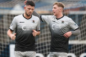Institute's Joe McCready (left) celebrates with Evan Tweed, after scoring at Glenavon last weekend.