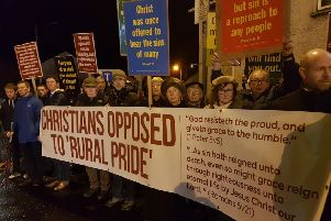 A protest organised by the Free Presbyterian churches of Mid Ulster outside the official launch of the Mid Ulster Pride Parade in Cookstown on Thursday night.