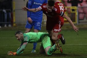 Ballinamallard United goalkeeper John Connolly produced a number of fine saves at Shamrock Park on Saturday.