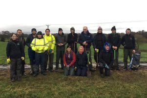 On Saturday, January 11, members of Curragh YFC braved the very windy and wet conditions to plant hedging with Orlagh and Andrew from the Grassroots Challenge