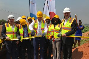 Pictured at the ribbon cutting are the Lagan Group, Hon Wamala, UK Minister for Africa Andrew Stephenson, Hon Evelyn Anite and H.E Peter West British High Commissioner at Namanve Industrial Park