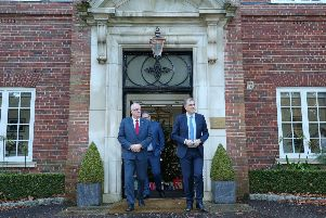 UUP leader Steve Aiken (with party colleague Doug Beattie behind) meeting with Northern Ireland Secretary Julian Smith at Stormont House in mid-December