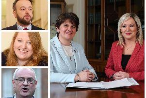The five party leaders, from clockwise, Arlene Foster (DUP), Michelle O'Neill (Sinn Fein), Steve Aiken (UUP), Naomi Long (Alliance) and Colum Eastwood (SDLP).
