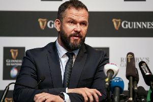 Ireland head coach, Andy Farrell, takes questions during the Guinness Six Nations launch in London