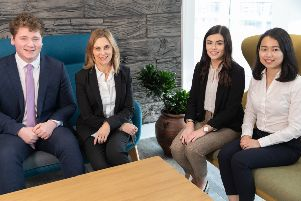 Angela Clist, Partner, Head of Allen & Overy's Legal Services Centre welcomes graduates Danny Lyttle, Niamh Hutchinson and Lena Chua to the global law firm
