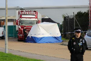 The lorry at Waterglade Industrial Park in Grays, Essex, inside which 39 bodies were found
