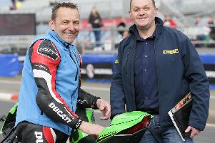 Steve Plater (left) with fellow former racer Phillip McCallen at the North West 200.