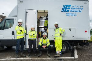 NIE Networks apprentices Jack Hoy, Molly Guy, Ryan Morgan and Neil Freeburn