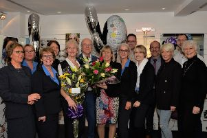 Irene Gaston (5th left) celebrating retirement with work colleagues from R. A. Glass Optometrists.  Photos: Phillip Byrne. INCT 05-004-PSB