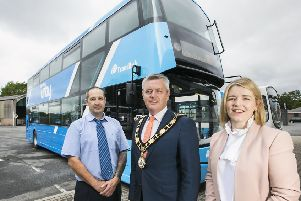 The new buses were launched by the Mayor of Antrim and Newtownabbey, Cllr Paul Michael, Ulsterbus Assistant Service Delivery Manager, Linda Lough and Ulsterbus driver David Wilson.