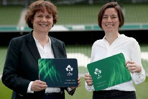 The Chair of the IRFU Women's Sub Committee, Mary Quinn (left) and IRFU World Rugby Representative, Su Carty