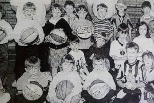 Some of the young people who attended the Youth Sport Summer Scheme at Edmund Rice College in Glengormley. 1997.