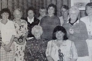 Phyllis Jennings, lady president of Ballyclare Golf Club with winners in her president's day competition. 1997.