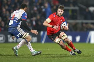 Ulser Iain Henderson in action against Scarlets