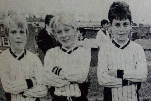 Some of the members of the 16th Newtownabbey BB company team which was runner-up in the final of the Newtownabbey BB company football competitoin. 1989