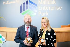 Owner of The Hungry Vegan John Darby with Chief Executive of Mallusk Enterprise Park, Emma Garrett.