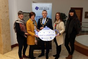 Grace Henry, Cllr Noreen McClelland, Mayor of Antrim and Newtownabbey, Cllr Paul Michael, Rhoda Walker Chair NIRDP and Ursula Fay Head of Arts and Culture, Antrim and Newtownabbey Council.