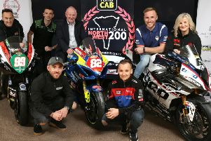 North West 200 riders pictured at the launch event in Coleraine including (from left) Jeremy McWilliams, Glenn Irwin, Lee Johnston, Richard Cooper, Davey Todd and Maria Costello with Event Director, Mervyn Whyte MBE.